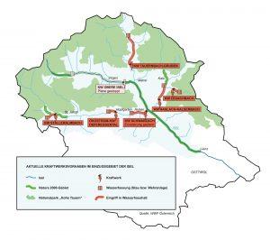 Kraftwerkspläne im Einzugsgebiet der Isel - Grafik WWF Österreich (klicken zum Vergrößern).